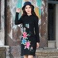 Mujer Vestido Lápiz Elegante de Señora Casual Bordado Rumal Funda de Tela Botones Mujeres Equipada Bodycon Vestido Del Vendaje
