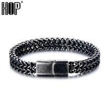 цена на HIP Hop 20cm Royal Black Color Men Bracelet 316L Stainless Steel Curb Cuban Link Chain Bracelets For Men Women Jewelry