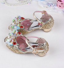 Summer Children's Kids Girls Butterfly Sandals Princess Sandals Wedding Shoes High Heels Leather Bowtie Dress Shoes
