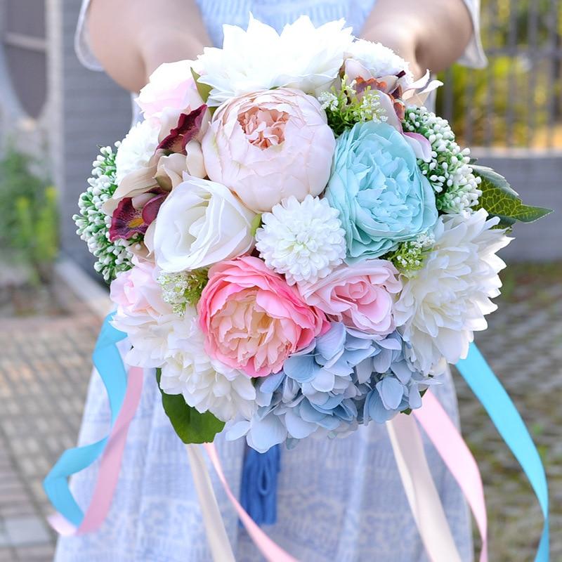 Artificial Fabriecs Peony Flowers Bridesmaid Wedding Bouquet Bridal ...