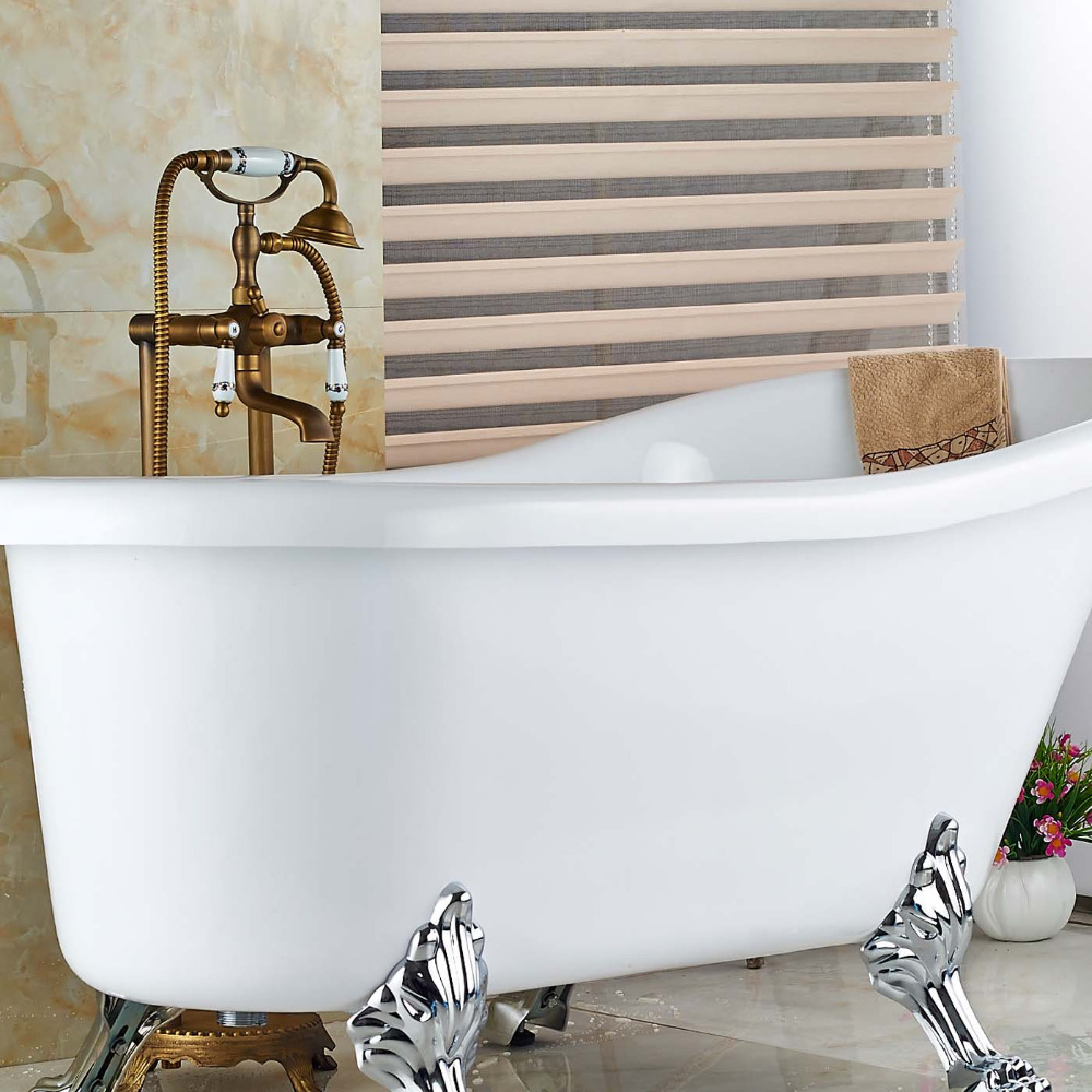 Wholesale And Retail Luxury Antique Brass Floor Mounted Bathroom Tub Faucet W Hand Shower Sprayer Tub