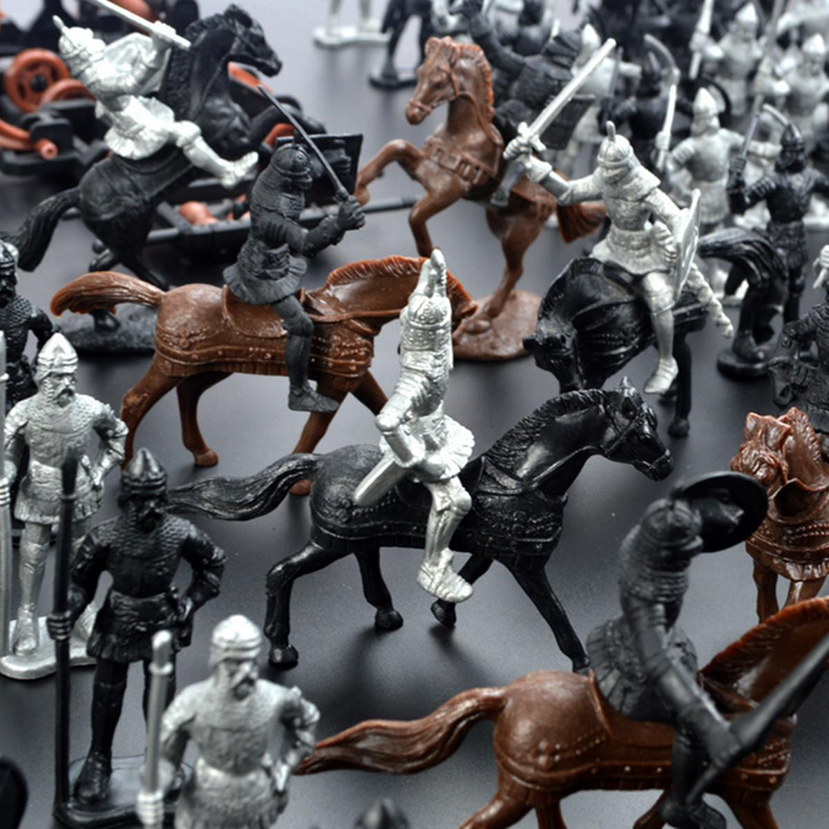 Plastic 28Pcs/Lot Medieval S Soldiers Model Toys Horses Soldiers Figures Models Play Kit Children Educational Toy Gifts