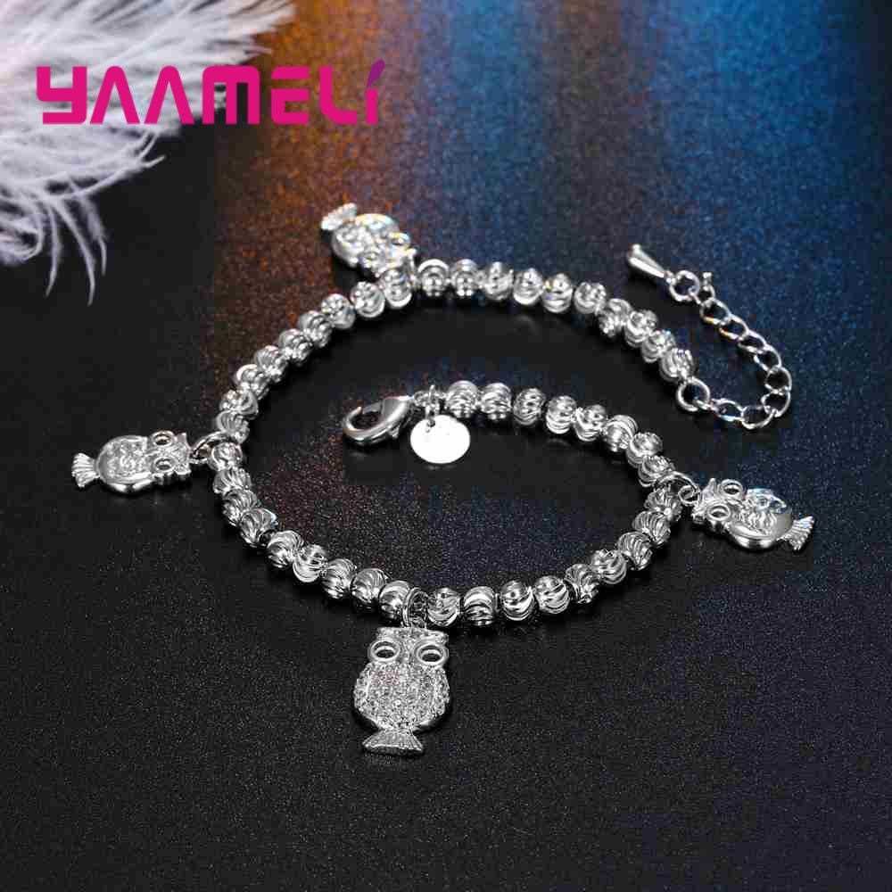 YAAMELI Hot Sale Fashion Jewelry Sterling 925 Silver Bracelt For Women Full Crystal Stone Eye Punching Process Lovely Pendant