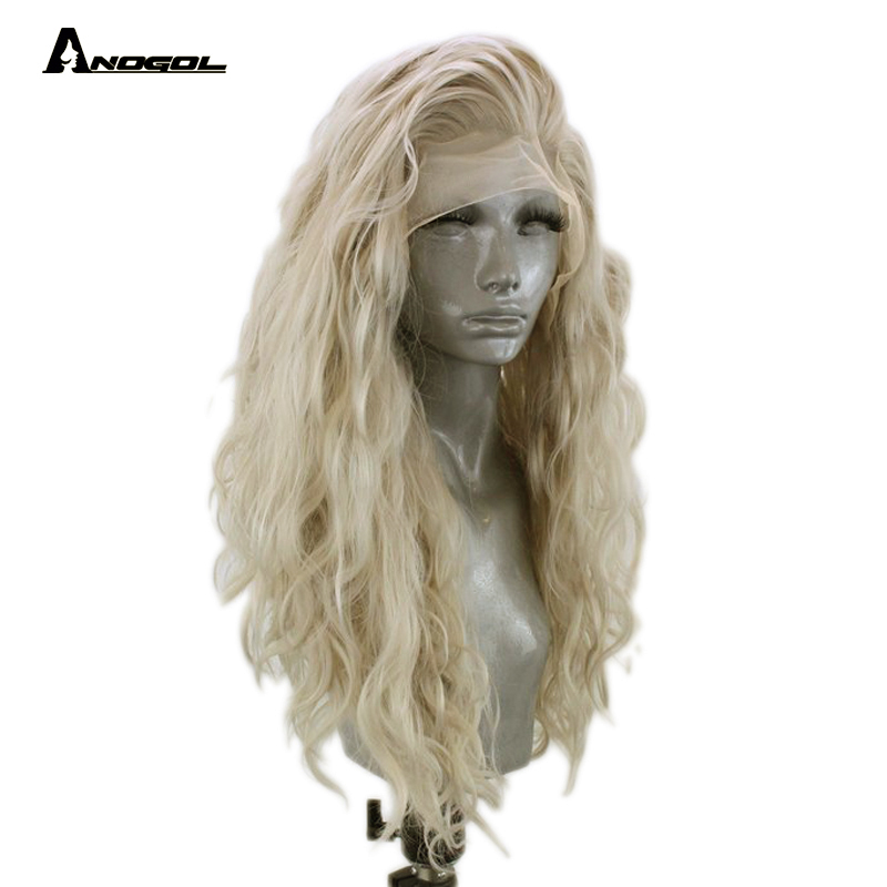Anogol High Temperature Fiber Free Part Long Loose Wave Platinum Blonde Synthetic Lace Front Hair Wig With Widow Peak For Women