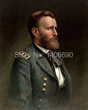 TOP art work -Christmas present # USA America President  Ulysses S. Grant -24″ inch -handpaint oil painting on canvas