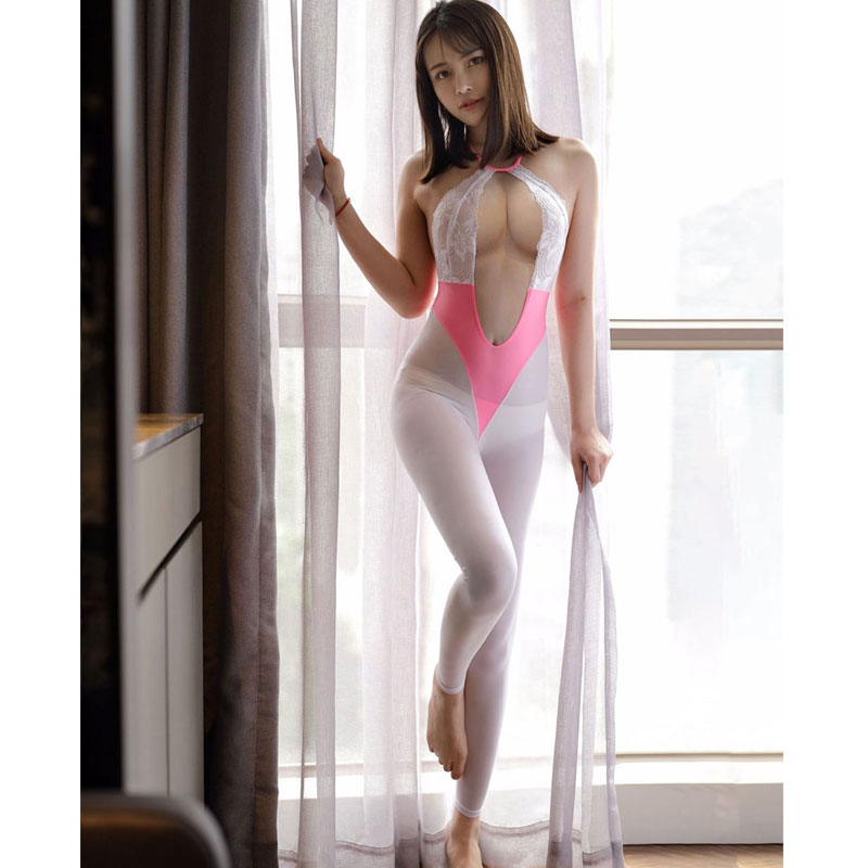 Sexy Women Blackless Lace Bodysuit Ice Silk See Through Open Crotch Body Stockings Bandage Hollow Out Catsuit Thong Leotard F24