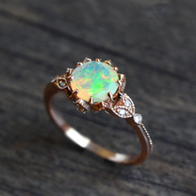 Gold Silver White Fire Opal Ring for Women