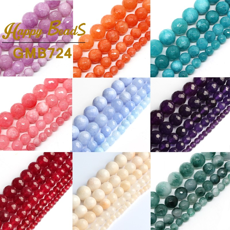Faceted Chalcedony Jades Beads Round Loose Stone Spacer Beads 6/8/10/12 mm For Jewelry Making DIY Bracelet Necklace 15''Inches