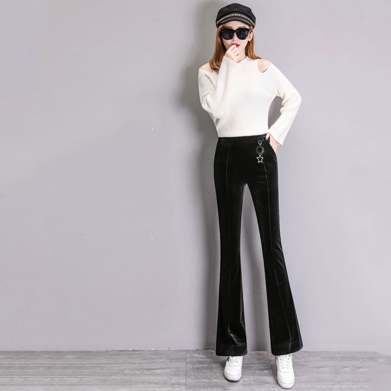 Bottoms 2018 Autumn And Winter New Gold Velvet Wide-leg Pants Women Thick High Waist Drop Loose Micro-straight Pants