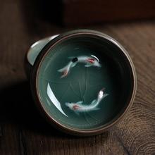 1 unids Chino Longquan Celadon Porcelana Tazas de Té de Té de la tetera Taza de Té tazón Pez Dorado 60 ml Crujido de China juego de té de la Tetera de Té conjunto