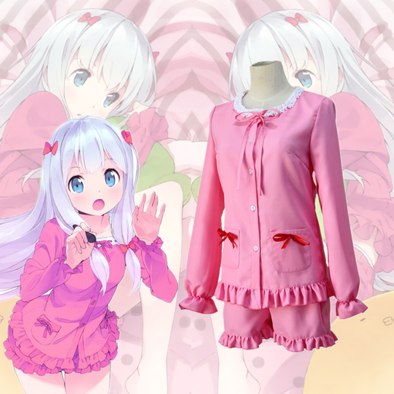 Anime Eromanga Sensei Izumi Sagiri Sleepwear Cosplay Costume Full Set Cute Lolita Pink Pajamas ( Shirt + Shorts + Headwear )