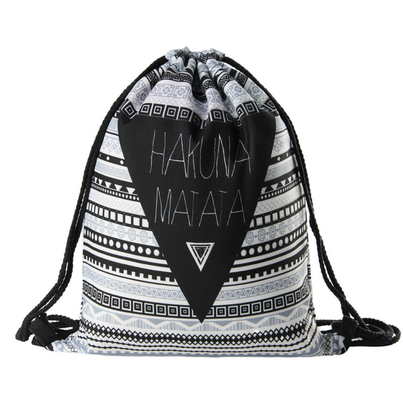Hakuna matata Women geometric Backpack 3D printing travel softback women mochila drawstring bag mens backpacks