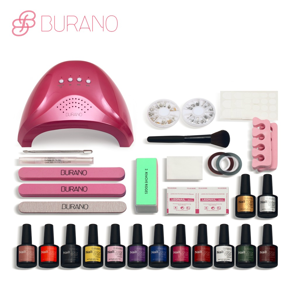 Burano 48w led lamp timer nail dryer choose 12 colors uv gel polish nail art kit set uv gel polish manicure set new pro 48w nail lamp manicure dryer fit uv led builder gel all nail polish nail art tools sun5 professional machine