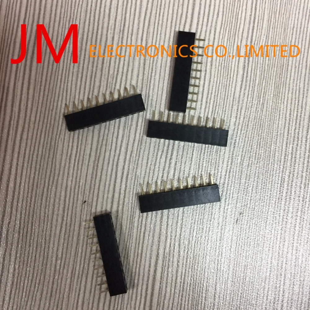500Pcs Straight Single Row 2Mm Pitch 10 Pins Connector Female Header