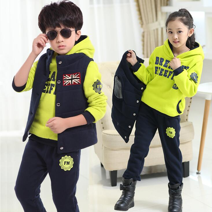 3 Pieces Winter Girls Boys Clothing Set Thick Warm Tracksuits Hiver Outfits ensemble fille costumes For 4 6 8 10 12 14 Years