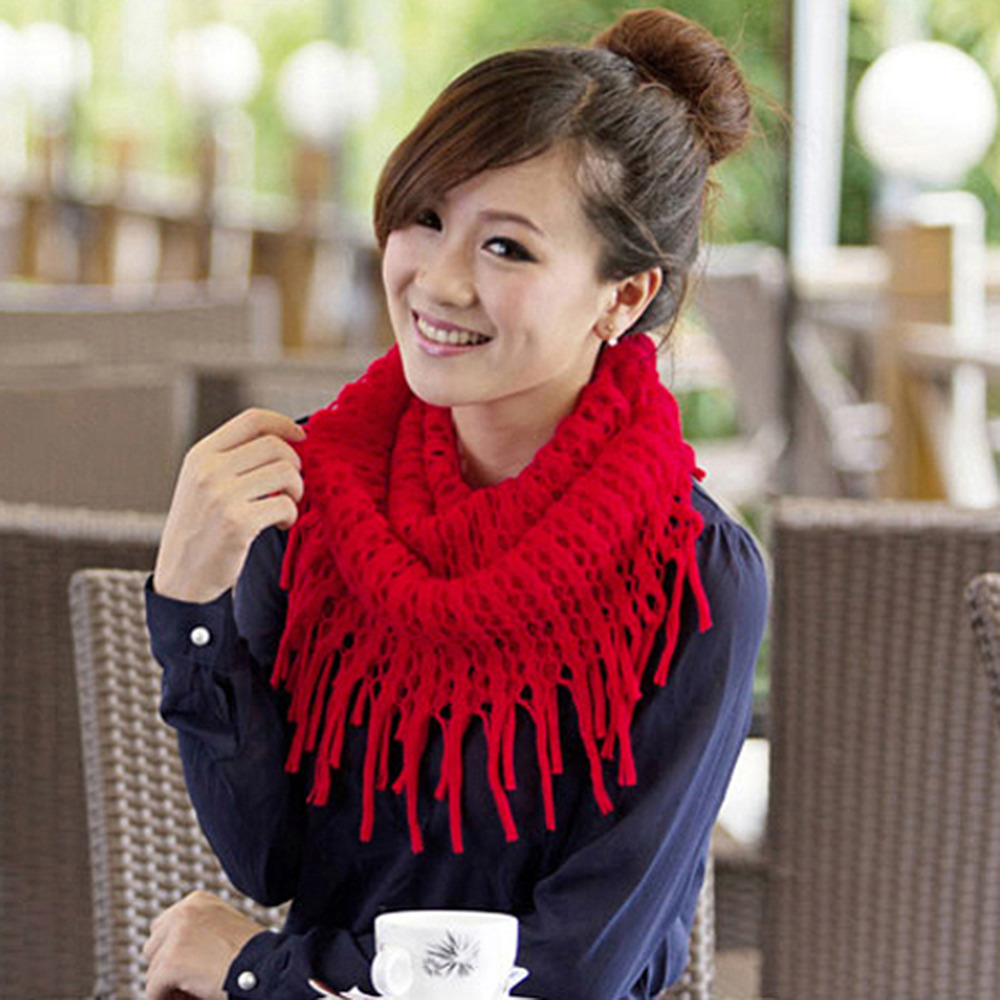 2017 Winter Fashion Women Winter Warm Knit Wool Snood Scarf Cowl Neck Circle Shawl Wrap Scarf