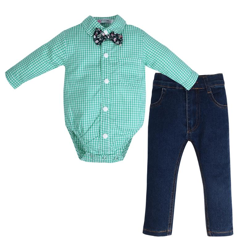 2Pcs Baby Boys Clothing Set Green Plaid Tie Long Sleeve Shirt Type Romper + Long Denim Pants Jeans Casual Spring Autumn Outfits amynicka casual jeans for men mid waist straight denim jeans male boys washed ankle length pants gray size 27 36 zj518