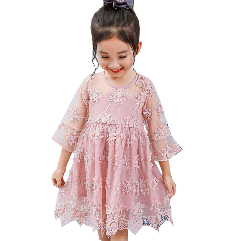 Elegant Lace Flower Girls Dress 2018 New Summer 3 4 5 6 7 8 Year kids Clothes Cute Children Princess Dresses for Wedding Party 2017 new girls party baby children summer sleeveless lace princess wedding dress 2 4 6 8 10 year old fashion flower girls dress