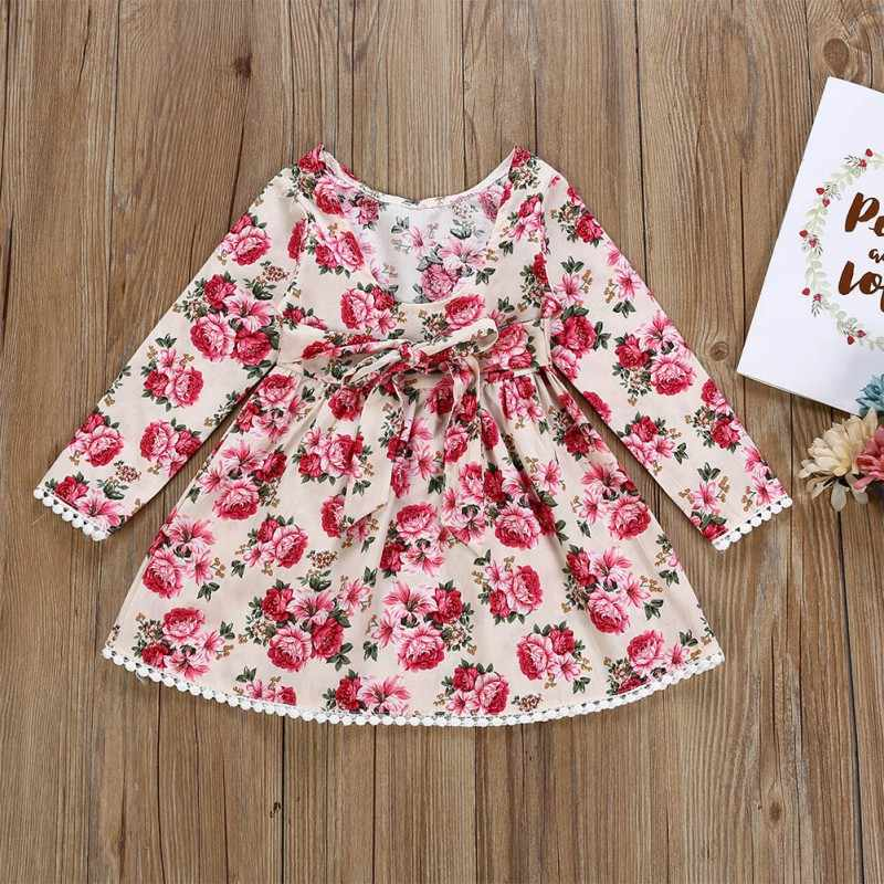 31ea9ba43 ... 2019 New Toddler Baby Girls Party Dress Kids Long Sleeve Lace Princess  Floral Bow Outfits Clothes ...
