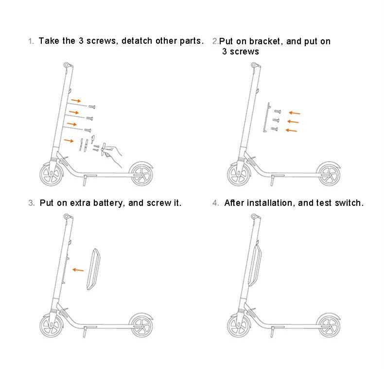 US $148 58 46% OFF|EU Stock Ninebot Upgrade External Optional Battery Kit  for KickScooter ES1 ES2 ES4 Electric Scooter hover board skateboard  187WH-in