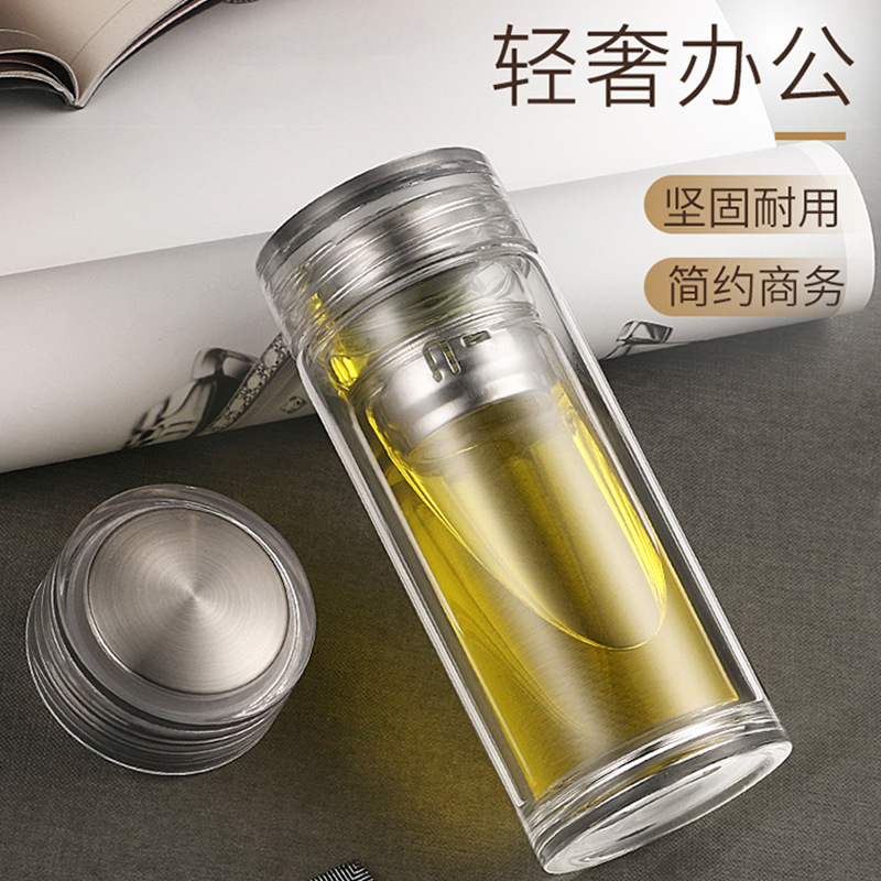 Travel Drinkware Portable Double Wall Glass Tea Bottle Tea for Men Women Infuser Glass Tumbler Stainless Steel Filters The Tea F