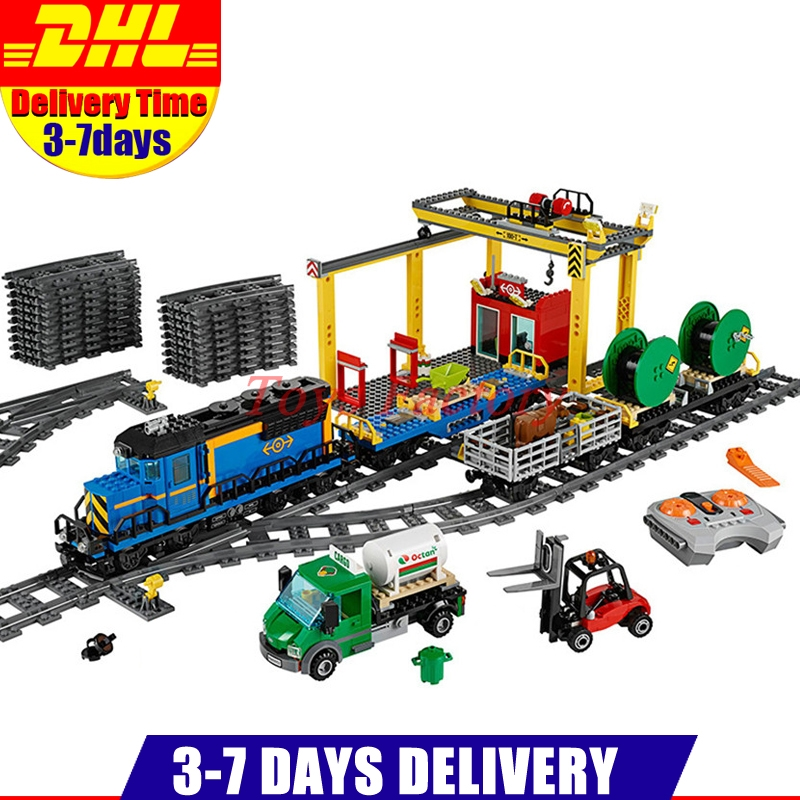 Clone 60052 DHL Lepin 02008 959PCS City Explorers Cargo Train DIY Building Blocks Bricks educational Toys for children Gifts lepin 02008 the cargo train 959pcs city series legoingly 60052 plate sets building nano blocks bricks toys for boy gift