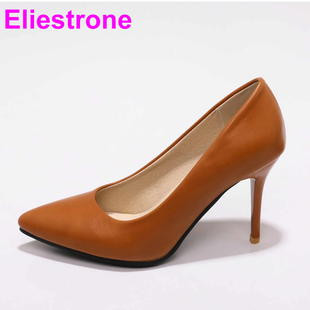 b8330c0110be Brand New Elegant Yellow Brown Women Nude Pumps Black Super High Heels Lady  Office Shoes JF281