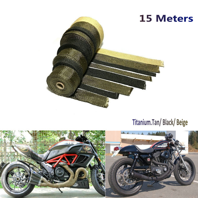 15m lava fiber black beige color thermal exhaust header pipe heat wrap exhaust wrap titanium heat tape with cable locking ties
