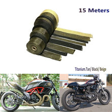 15 Lava Fiber /Black/ Beige Color Thermal Exhaust Header Pipe Heat Wrap Exhaust Wrap Titanium Heat Tape With Cable Locking Ties sclmotos 5 10 15m titanium color exhaust pipe header heat wrap resistant exhaust stainless steel ties wrap for car motorcycle