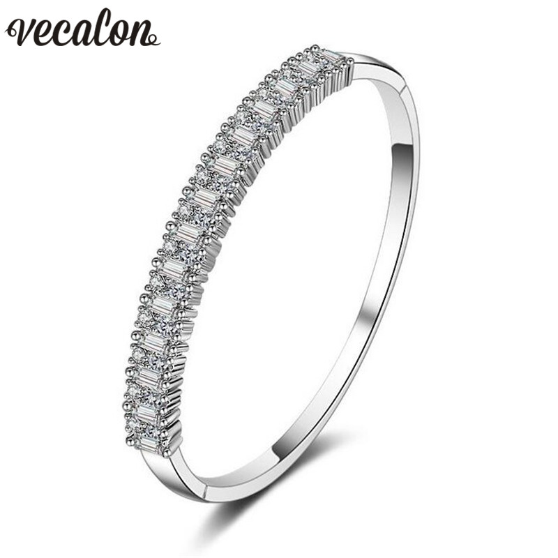 Vecalon 2017 Fashion 5A cubic zirconia Engagement bracelet White Gold Filled cuff bangle womens Wedding accessaries Gift