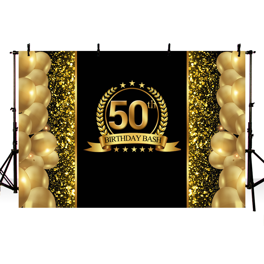 Luxury Sparkly <font><b>Happy</b></font> <font><b>50th</b></font> <font><b>Birthday</b></font> <font><b>Backdrops</b></font> for Photo Studio Gold Balloons Glitter Black Backgrounds 7x5ft Vinyl Background image
