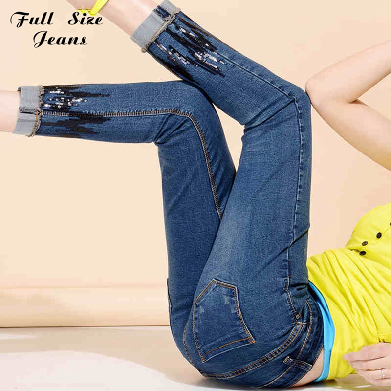 ФОТО New 2017 High Waist Jeans Frau Plus Size Lace Denim Cropped Jean Femme Ankle Pencil Pants Women Denim Pants Xs 4Xl 6Xl Brand