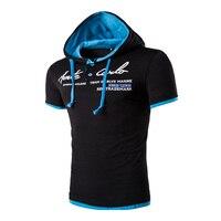 2017 Men Leisure Brand Men T Shirt Summer Fashion Men Hooded Collar Sling Design T Shirt