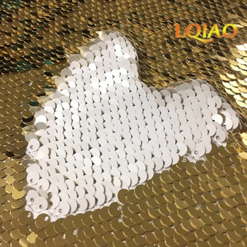 2018 Newest 45*125cm Light Gold and White Reversible Sequin Fabric Mermaid Sequin Fabric,DIY Fabric For Cushion Backrest Clothes image