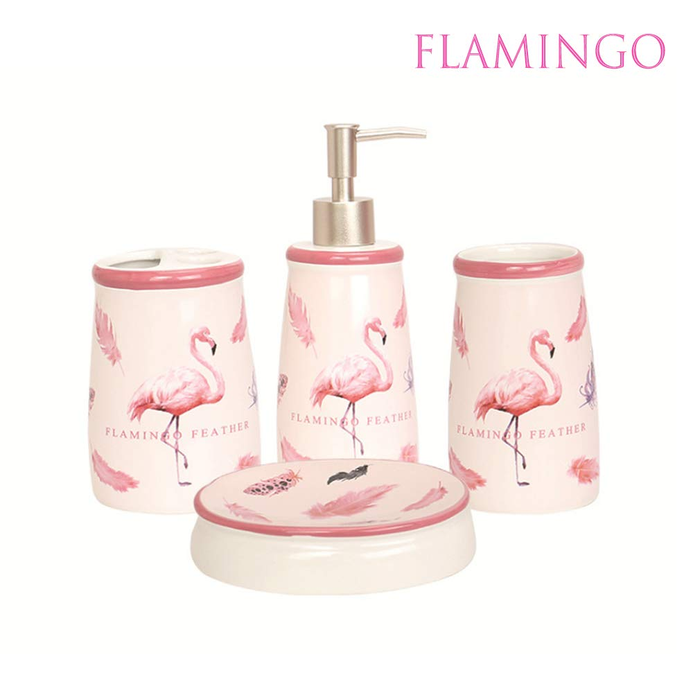 4 PCS Ceramic Bathroom Accessories Set,Lotion Dispenser, Toothbrush Holder Tumbler and Soap Dish Pink Flamingo Housewarming gift image