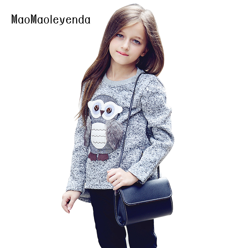 6-16Y new fashion Kids Girls Fleece Lined Zipper Sweatshirt Cartoon Cute Owl Casual Cotton Girls Winter Clothes girls sweatshirt brand 2017 hoodie new zipper cuff print casual hoodies men fashion tracksuit male sweatshirt off white hoody mens purpose tour