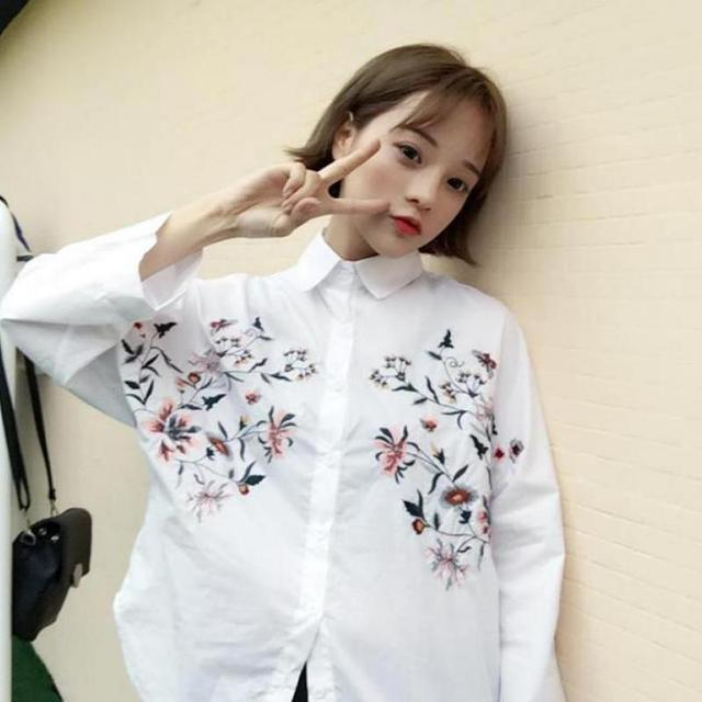 white shirt Batwing long sleeve embroidery blouse embroidery shirt korean  style korean clothing store floral flower