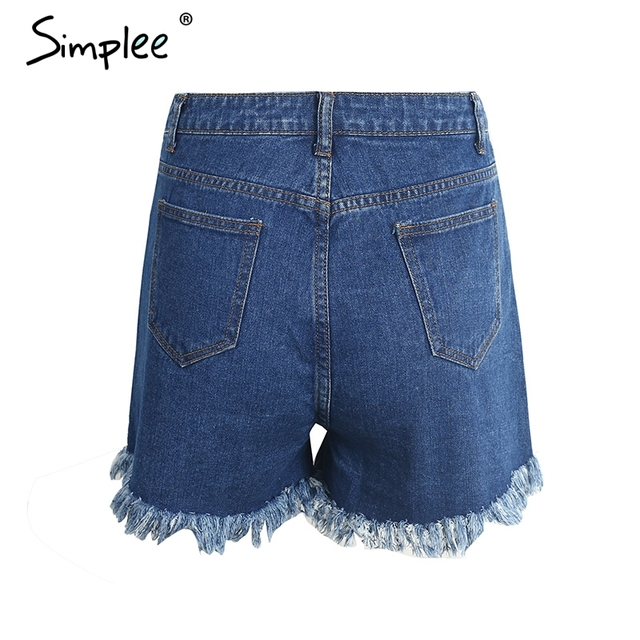 Simplee Flower embroidery high waist denim shorts women Casual zipper tassel fringe jeans shorts Summer pocket mini shorts