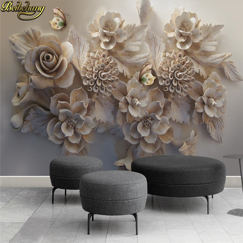 beibehang Custom Papel De Parede 3D Flower Photo Mural Wallpaper for Sofa Backdrop living room bedroom wall papers home decor pastoral large flower wallpapers 3d stereoscopic non woven embossed wallpaper for living room bedroom home decor papel de parede