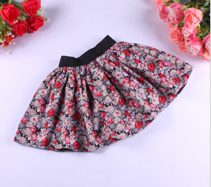 2018 summer children's clothing baby girl skirt casual floral print cotton baby girls skirts for girls kids princess skirt asymmetrical ruffle trim floral skirt