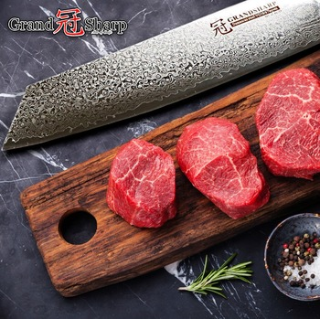 Japanese Steel Knives   2018 Damascus Chef Knife 8.2 Inch Vg10 Damascus Steel Japanese Kitchen Knives G10 Handle Razor Sharp Japanese Damascus Blade NEW