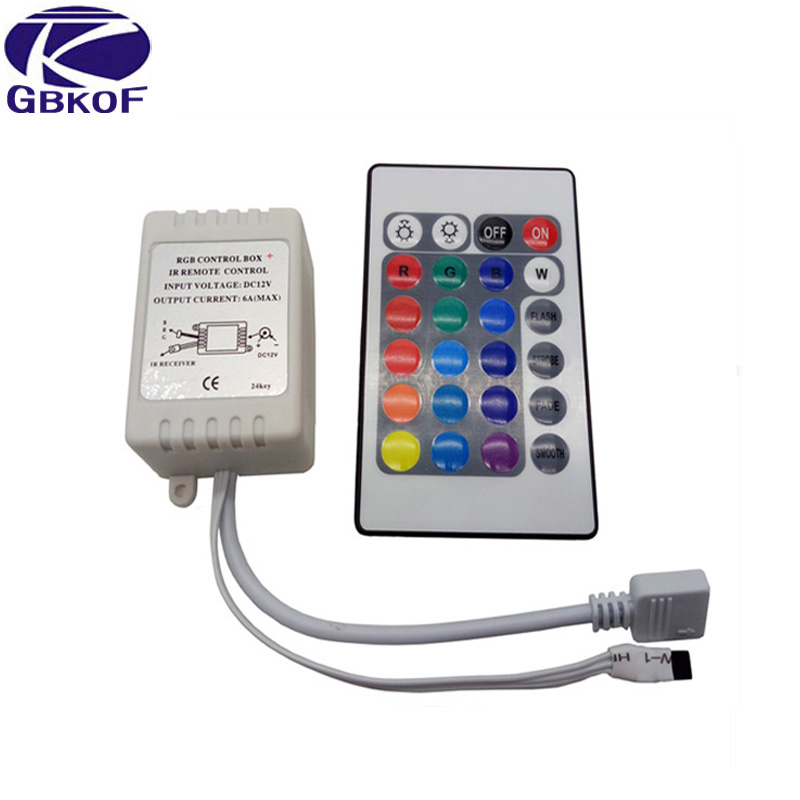 DC12V 24 Keys IR Remote RGB Controller For SMD2835/3528/5050/5730/5630/3014 RGB LED Strip Lights Mini Controller