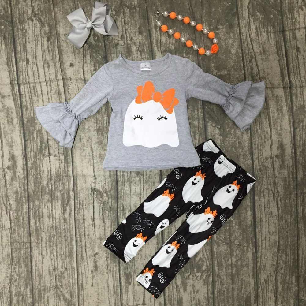2018 new arrivals Fall Halloween baby girls clothing grey ghost print cotton boutique clothing pant children match accessories scoop neck halloween ghost print dress