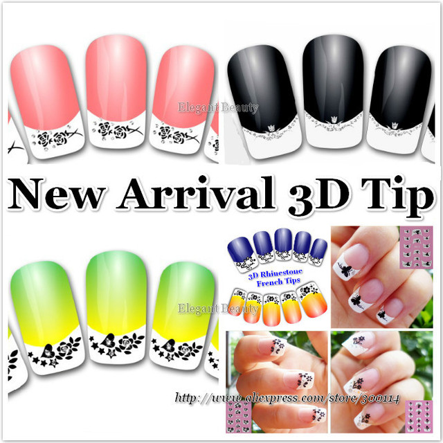 wholesale lace black & white Nail Art decal seal French tip with ...