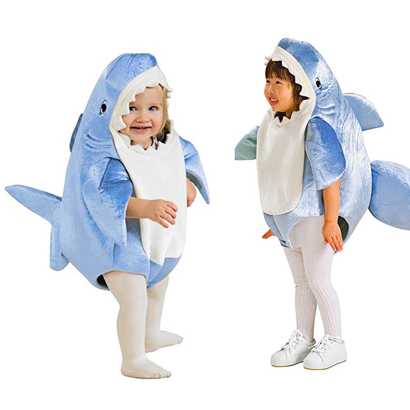 Children Blue Shark Costume Party Kids Mascot Halloween Parent-child Game Animal Jumpsuit Cosplay Fancy Dress