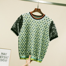 Fashion women's knitting T-shirts 2019 summer vintage Tops Tee women A322