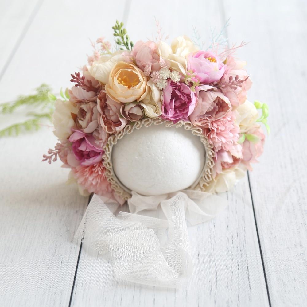 Floral Bonnet Newborn Photography Props Baby Girl Lace Flower Bonnet Vintage Pastel Pink Flower Hat Ruffle Cap Shower Gift