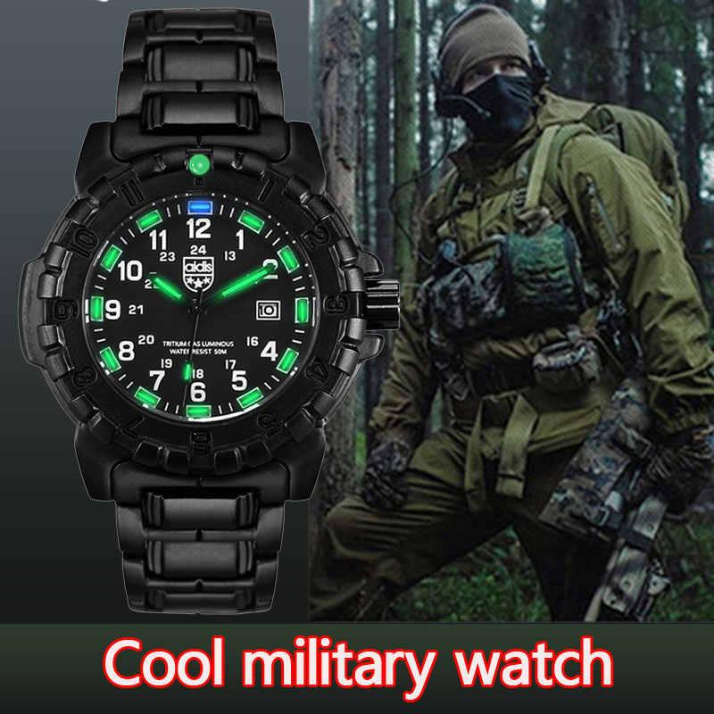 AIDIS top marka mężczyźni sport zegarki casual świecące kwarcowy wodoodporny odkryty kompas wojskowy zegarek ze stopu metali mężczyźni zegar reloj hombre