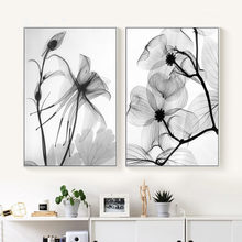 Nordic Abstract Black White Plant Flower Poster Canvas Print Canvas Painting Wall Art Bedroom Home Decoration Modular Picture(China)