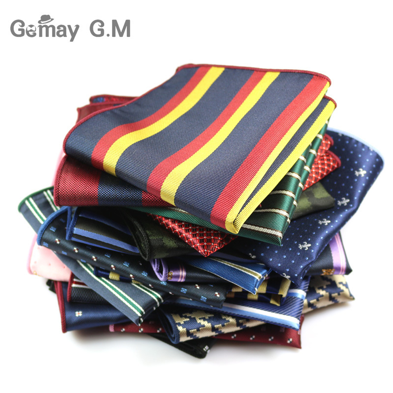 Men's Suits Polyester Handkerchiefs Woven Floral Pocket Square Hankies Chest Towel Formal Striped Wedding Pockets Square Hanky